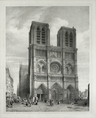 Notre Dame black and white etching