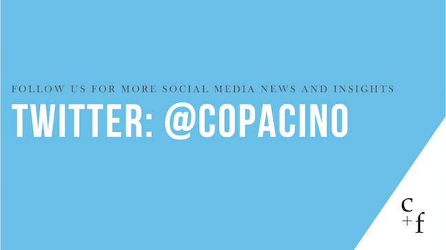 Text: Follow @copacino on Twitter for more social media news and insights
