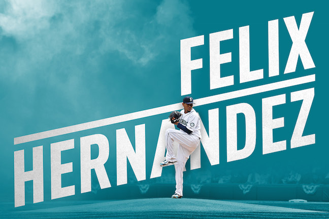Image of Felix Hernandez pitching over an illustration of his name