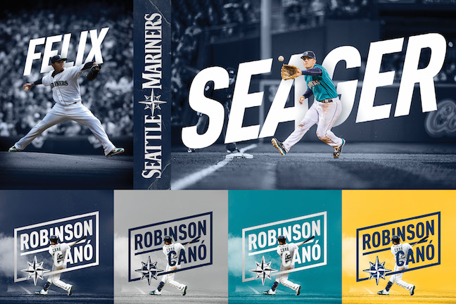Image collage of Mariners players in front of 'rhombus' stylized text with their names