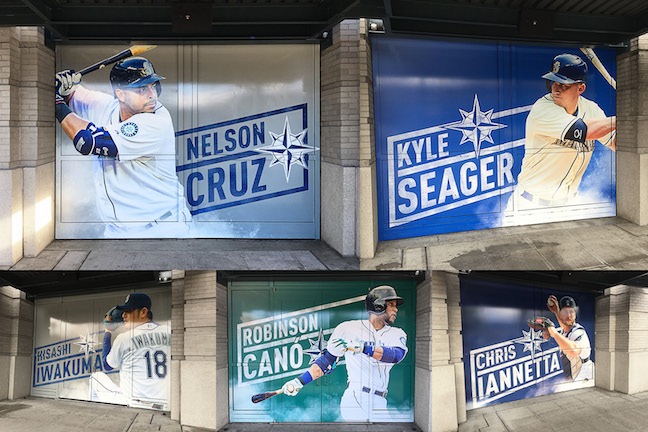 Image collage of Mariners players on 'barn doors' at Safeco Field with 'rhombus' text styling