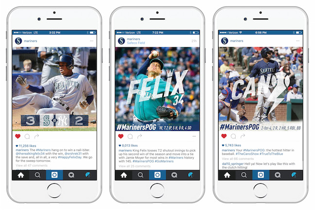 Image collage of Mariners 'rhombus' text styling on Instagram posts