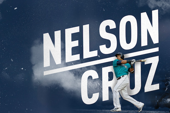 Image of Nelson Cruz superimposed over 'rhombus' text styling