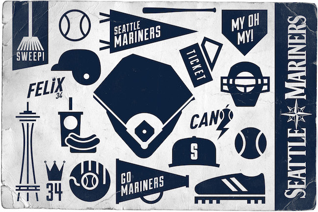 Image of Seattle Mariners icons in 'rhombus' design language