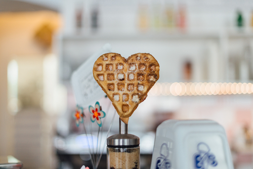 A waffle shaped like a heart